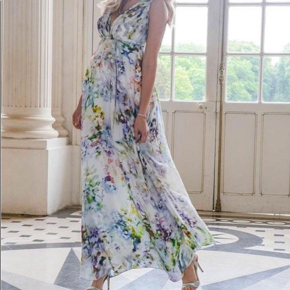 Seraphine Floral Silk Maternity Maxi Dress
